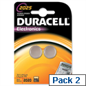 Duracell DL2025 Button Cell Coin Batteries Lithium for Camera Calculator or Pager 3V Pack 2