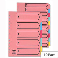 Concord 10-Part Subject Dividers Printed A4 Assorted