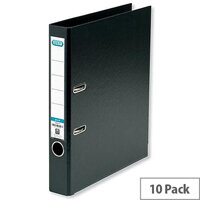 Elba Mini Lever Arch File PVC 50mm Spine A4 Black Pack of 10