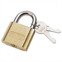 Draper Brass Cylinder Padlock Brass Body and Cylinder Plated Steel Shackle 2 Keys 50mm