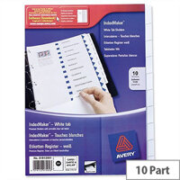 Avery 01812061 Index Divider Set Punched 10-Part