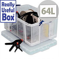 Plastic Storage Box 64 Litre Stackable Clear Really Useful