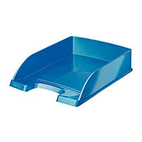 Leitz WOW Letter Tray Stackable Glossy Metallic W245xD380xH70mm Met Blue Ref 52263036
