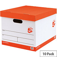 5 Star Lever Arch Files Storage Box A4 White and Red 10 Pack