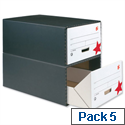 Archive Storage Drawer Black and White 5 Pack 5 Star