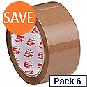 Polypropylene Packing Tape 50mm x 66m Buff 6 Pack 5 Star