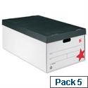 5 Star Jumbo Storage Box Black and White 412x715x276mm Pack of 5