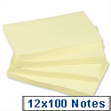 Sticky Notes Pad of 100 Sheets 76x127mm Yellow Pack 12 5 Star