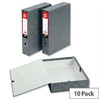 5 Star Foolscap Box File Spring Lock 75mm Spine Cloud Effect Pack 10 Pressboard
