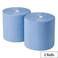 2Work Industrial & Garage Tissues Refill Dispenser Paper Cleaning Rolls 3-Ply 170m x 250mm Pack of 2 Blue Rolls GEM503B