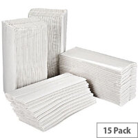 2Work White 2 Ply C-Fold Paper Hand Towels 217mm x 310mm 157 Towels Per Sleeve 15 Sleeves (2355 Sheets) HT3000