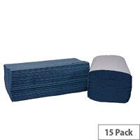 2Work Blue I-Fold 1-Ply Paper Hand Towels 242x222mm 240 Towels Per Sleeve 15 Sleeves (3600 Sheets) HIB136