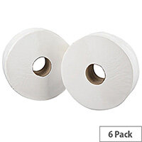 2Work Jumbo 76mm Core Dispenser Toilet Paper Rolls Refills 2-Ply White 92mm x410m Pack of 6 J27410