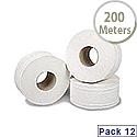 2Work Mini Jumbo Dispenser Roll 2-Ply White 92mm x200 Metres 76mm Core Pack of 12 J27200