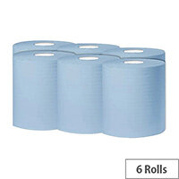 2Work Dispenser Centre Feed Cleaning Paper Towel Rolls  1-Ply 300 Metre Blue Rolls Pack of 6 C1B300