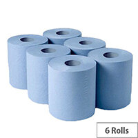 2Work Centrefeed Cleaning Paper Towels Rolls 2-Ply 150m Blue Rolls Pack of 6 C2B150