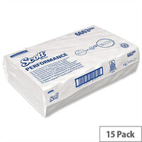 Kimberly Clark Scott Performance 1 Ply Paper White Hand Towels 212 Sheets Pack of 15 (3180 Towels) 6663