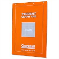 Chartwell A3 Student Graph Pad 1mm 5mm 10mm Grid 30 Sheets Orange Cover J13BZ