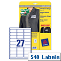 Avery L4784-20 Name Badge Laser Labels 63.5 x 29.6mm White 540