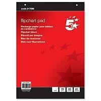 A1 Flipchart Pad Perforated 40 Sheets Plain 5 Star