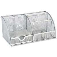 Mesh Large Desk Tidy Silver Scratch Resistant Osco