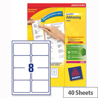 Avery L7165-40 Address Labels Laser 8 per Sheet 99.1x67.7mm White 320 Labels