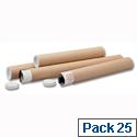 Brown Kraft 330x50mm Cardboard A4-A3 Postal Tubes (25 Pack)