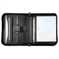 5 Star Elite Zipped A4 Conference Ring Binder Black Genuine Leather Capacity 20mm - Ideal for meetings and conferences - Document and external zip compartments