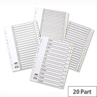 Concord 1-20 Index Plastic A4 Europunched Subject Dividers