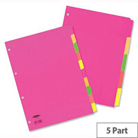 Concord A4 Fluorescent Subject Dividers 4 Holes 5-Part Assorted