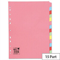 15-Part Subject Dividers A4 Multipunched Assorted 5 Star