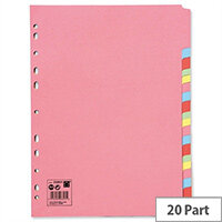 20-Part Subject Dividers A4 Multipunched Recycled Assorted 5 Star