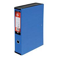 5 Star Box File Foolscap Blue 75mm Spine Lock Spring Finger Pull Pressboard Pack of 5