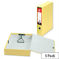 5 Star Box File Foolscap Yellow Lock Spring Ring Pull and Catch 70mm Spine Pack of 5 Pressboard