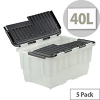Strata Plastic Storage Crate 40 Litre Clear Pack 5