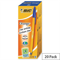 Bic Orange Ballpoint Pen Blue Pack 20