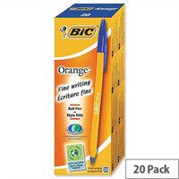 Bic Orange Ballpoint Pen Blue Pack 20