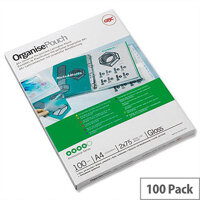 GBC Filex Organise Laminating Pouches Glossy A4 Oversize 250 Micron Pack 100