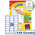 Avery L7159-100 Addressing Labels Laser 24 per Sheet 63.5x33.9mm White 2400 Labels