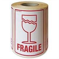 Parcel Labels Fragile 108x79mm on Roll Diameter 210mm 500 Labels