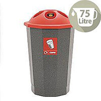 Red Cup Recycling Bank 75L Colour Coded Eco Bin Red 374617