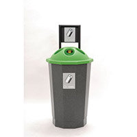 Green Can Recycling Bank 75L Colour Coded Eco Bin Green 374618