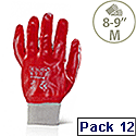 "Portwest PVC Knitted Wrist Work Gloves Cotton & PVC Red Medium 8""-9"" Pack 12 Ref A400MED"