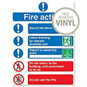 Fire Action Self Adhesive Safety Sign W230xH172mm Size A5