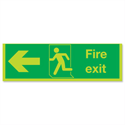 Safety Sign Niteglo Glow In The Dark Fire Exit Running Man Arrow Left 150x450mm PVC