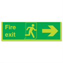 Safety Sign Niteglo Glow In The Dark Fire Exit Running Man Arrow Right 150x450mm PVC
