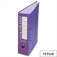 Rexel Colorado 80mm A4 Lever Arch File Purple Pack of 10