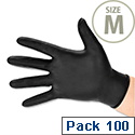 Disposable Nitrile Work Gloves Black Medium Box of 100 Polyco Bodyguards GL8973