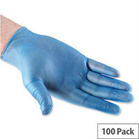 Disposable Powdered Vinyl Gloves Blue Medium Box 100 Polyco Bodyguards 4 Ref GL8332