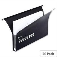 Rexel Crystalfile Extra Secura Suspension File Foolscap 30mm Black Pack 20